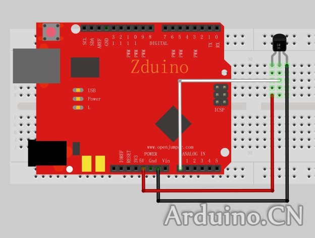 arduino教程——lm35线性温度传感器
