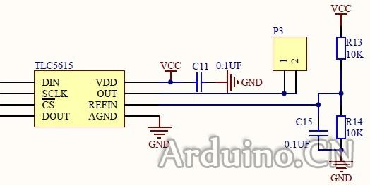制作扩展板,tlc5615外围电路如下   vdd接在ardunio板子上的5v接口